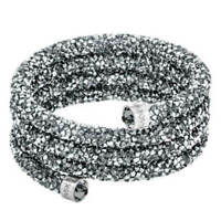 Swarovski Women's Bangle Bracelet Crystaldust, Grey, Wide 5277588