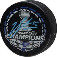 Jordan Binnington St. Louis Blues 2019 SC Champs Signed Champs Logo Hockey Puck