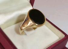 traumhafter Siegelring mit Onyx 8 Karat Gelbgold 333 Wappenring Gr 65 für Herren