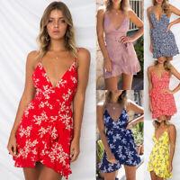 Womens Strappy V Neck Floral Ladies Ruffle Wrap Mini Dress Summer Beach Sundress