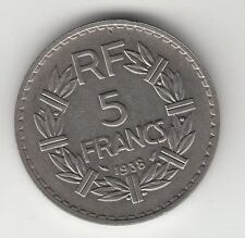 MONNAIE FRANCE 5 FRANCS LAVRILLIER  1938   NICKEL TRANCHE LISSE
