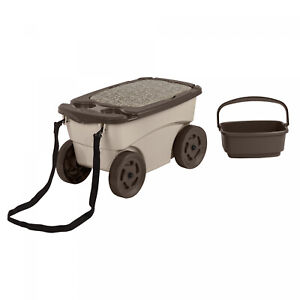 Outdoor Rolling Garden Scooter Carts Wheels Storage Bin Pull Strap Light Taupe