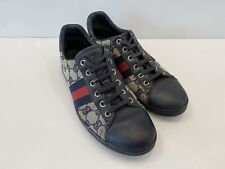 Gucci Sneakers Shoes Blue GG Monogram Web Stripe Sz 37