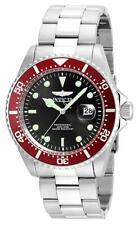 Invicta Men's Pro Diver Stainless Steel Date Black Dial Red Bezel Watch 22020