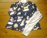 Next Baby Girls Navy Unicorn Print Dress & Grey Leggings Age 3-6 Months BNWT