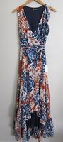 Lulus Orange Blue Chiffon Floral Wrap Ruffle Maxi Dress XS NWT  CG