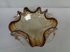 HEAVY ART GLASS BOWL WITH CONTROLLED BUBBLES - CLEAR WITH DARK RED EDGES (CHI)