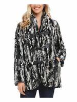 KAREN KANE $248 Womens New Black Faux Fur Button Down Jacket M B+B