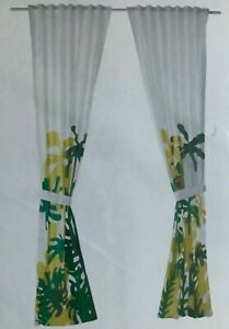 "Ikea Djungelskog Curtains w/Tie Back 1 Pair(2 Panel) Monkey Green  Size 47x 98"""