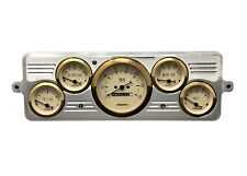 1939 Chevy Car 5 Gauge Dash Panel Cluster Set 39 Gold Bezel