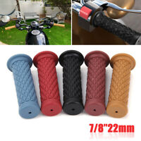 """Pair 7/8"""" 22mm Rubber Handlebar Hand Grips Bar End For Cafe Racer Dirt Bike ATV"""