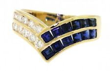 Mayors 18k gold 1.42ct VS1/G diamond and blue sapphire cocktail ring size 6.75