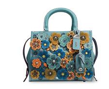COACH 1941 Floral Applique Leather Satchel Blue-Multi