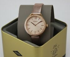 NEW AUTHENTIC FOSSIL SUITOR ROSE GOLD BRONZE LEATHER WOMEN'S LADIES BQ3429 WATCH