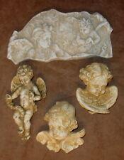 Set of 4 Vintage Angels Cherubs Wall Decor Eros Wings