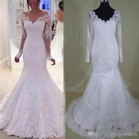 V-neck Long Sleeve Mermaid Wedding dress Lace Applique Bridal Gown 6 8 10 12 14+