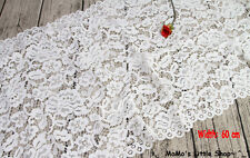 """Pretty White Heavy Corded Floral Embroidery Lace Fabric Edging (24"""" Width) — 1 M"""