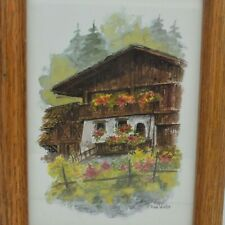 Vintage Print Signed A TERRA VECCHIA Countryside Home Wood Frame 5x7
