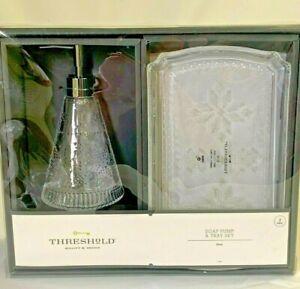 THRESHOLD Soap Pump & Tray Bath Set NWT Holiday Theme Snowflake Clear Glass
