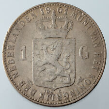 1901 Netherlands Gulden Silver Coin KM #122.1 VF Condition