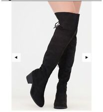 THIGH HIGH BLACK FAUX SUEDE LACE UP BOOTS SIZE 7