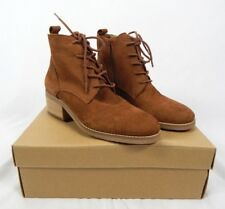 Lucky Brand Toffee Brown Embossed Nubuck Tamela Lace-Up Booties 7.5, 8, 8.5, 9.5