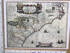 "Antique Vintage MAP 1600's: Virginia & Florida, America 1638: 12 X 9"" Reprint"