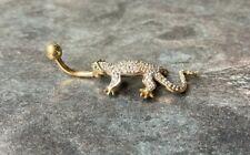 9ct Gold Clear Lizard Navel / Belly Bar - Free polishing cloth