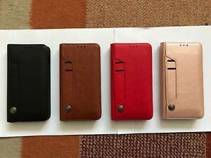 Multi Rotating Card Slots PU Leather Book Case For Various Apple iPhones