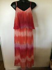 Size 16 Smart Flattering Coral Red Floaty Maxi Dress