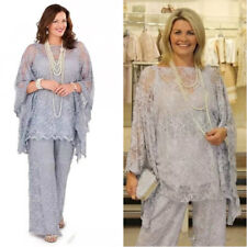 Gray Full Lace Mother Of the Bride/Groom Pant Suits For Wedding Formal Plus Size