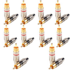 10 Pairs -LS RCA Male Plug Solder Free Gold Audio Video Adapter Connector Lot