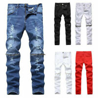 Mens Jeans Slim Fit Straight Skinny Denim Ripped Zipper Trousers Casual Pants