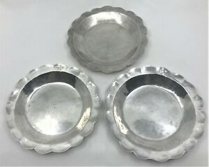 Antique 3 Colonial Hand Hammered Scalloped Sterling Silver Plates Dishes marked