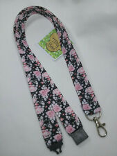 Lanyard Pink Roses on black ribbon safety clip ID badge holder student gift