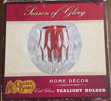 Cracker Barrel Season Of Glory Cut Glass Tealight Candle Holder Clear Red NEW