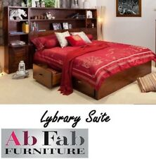 LIBRARY KING BEDROOM SUITE TIMBER BED FRAME WITH 6 STORAGE DRAWERS  2 CUPBOARDS