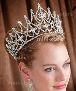 Bridal Large Pageant Tall Tiara Crown use Austrian Crystal AT1581