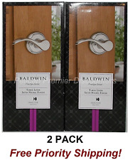 2 PACK Baldwin Prestige Tobin Satin Nickel Left-Handed Dummy Door Levers NEW