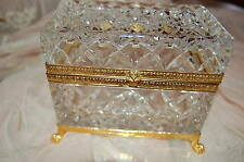 Vintage Cut Crystal Jewelry Box Casket Gilt Paw Feet Italy Italian