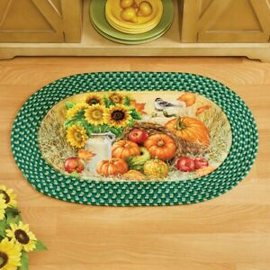 Bountiful Thanksgiving Harvest Braided Kitchen Home Accent Rug