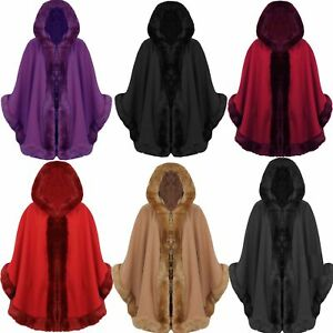 New Womens Ladies Designer Celebrity Faux Fur Hooded Cape Poncho Coat Size 8-26