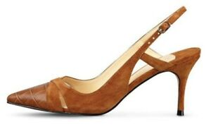 IVANKA TRUMP NEW AUTH Women Cognac Brown Suede Leather Billa Slingback Shoes 6.5