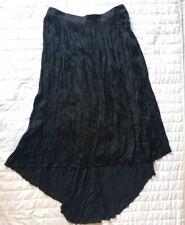 New! Long Black Crushed Satin Asymmetrical Skirt Size Large