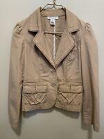 White House Black Market Cotton Blazer Jacket Womens Sz 2 Tan