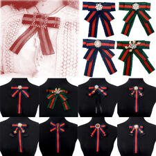 Women Rhinestone Pearl Ribbon Bow Tie Brooch Pin Blouse Shirt Collar Brooches