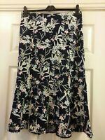 Ladies Isle Navy Blue Summer Floral Linen Blend Skirt Size UK 14