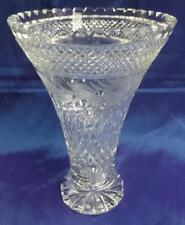 STUNNING RETRO VINTAGE BOHEMIA 24% LEAD CRYSTAL ETCHED VASE CZECH REPUBLIC