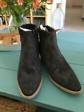 Free People Farylrobin Black Suede Trill Ruffle Top Ankle Bootie Size 8