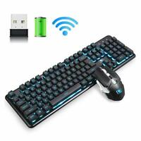 US Gaming Keyboard and Mouse set Backlit Wireless 4800mAh Battery for PC Laptop